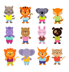 Cute cartoon baby animals set vector