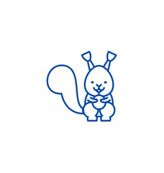 cute squirrel line icon concept cute squirrel vector image