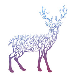 Double exposure deer for your design vector