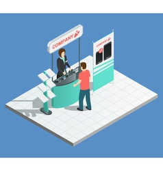 Exhibition promotion stands isometric composition vector