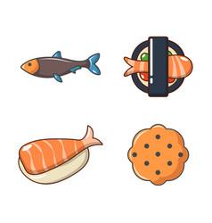 fish food icon set cartoon style vector image