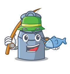 Fishing milk can mascot cartoon vector