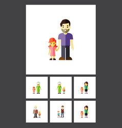 flat icon family set of grandchild daugther vector image