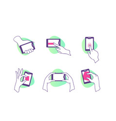 flat set icons with hands with smartphone vector image