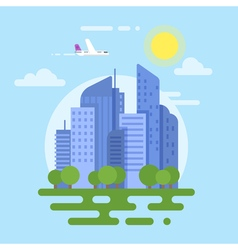 Flat style of modern city plane and buildings vector