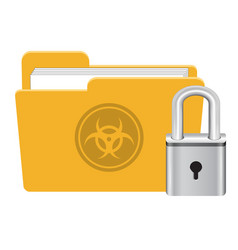 folder infected virus with master key lock icon vector image