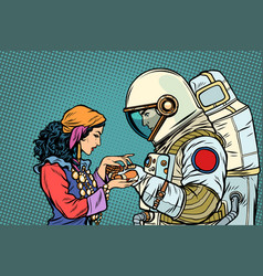 Fortune teller and an astronaut palmistry vector