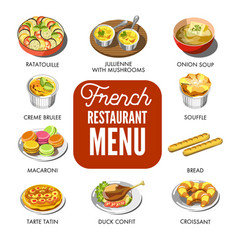 French restaurant menu that includes only vector