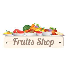 fruit shop wood board vector image