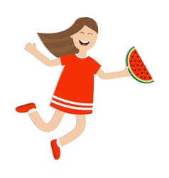 Girl jumping isolated Happy child jump Cute vector image vector image