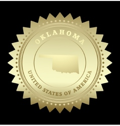 Gold star label Oklahoma vector image