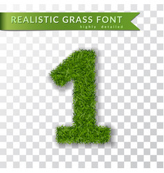 grass number 1 green number one isolated on vector image