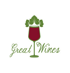 Great wines glassware leaves image poster vector