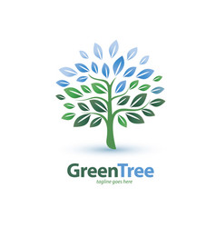 green tree stylized symbol logo or emblem vector image