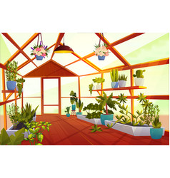 Greenhouse interior with garden inside orangery vector