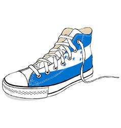 hand draw modern sport shoes with Honduras flag vector image