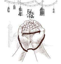 Hand praying lantern drawn on white vector