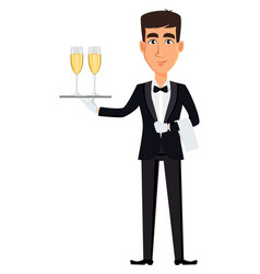 handsome waiter wearing a professional uniform vector image