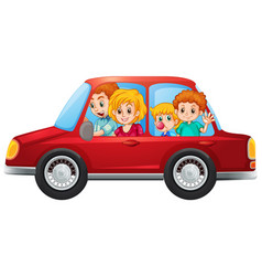 Happy family in car vector