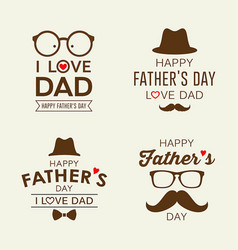 Happy father day labels logo collections vector