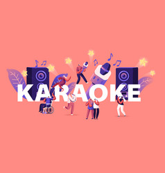 happy friends having fun singing at karaoke bar vector image