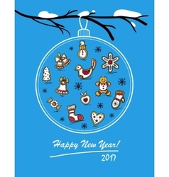 Happy New Year 2017 card with glass ball vector