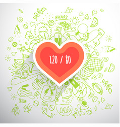 healthy lifestyle heart concept doodle vector image