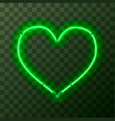heart-shaped bright green neon frame template on vector image