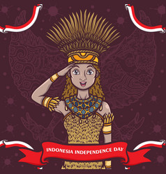 Indonesian papua girl greeting happy independence vector