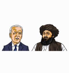 joe biden abdul ghani baradar taliban leader vector image
