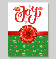 joy greeting gift card for christmas and new year vector image