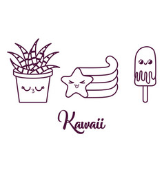Kawaii cactus in a pot design vector