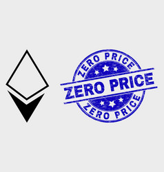 line crystal icon and distress zero price vector image