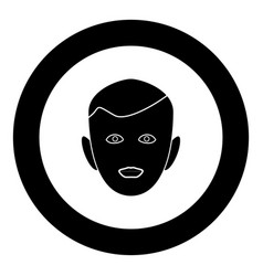Little boy face black icon in circle isolated vector