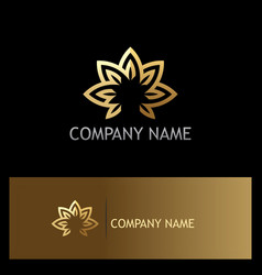 Lotus flower gold logo vector