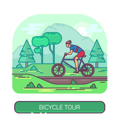 male on mountain bike at road or man on bicycle vector image