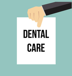 man showing paper dental care text vector image