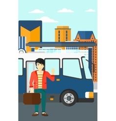 Man standing near bus vector