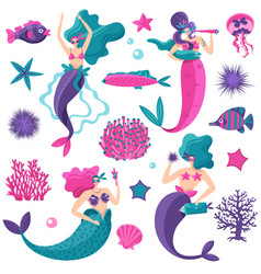 Mermaids sea life set vector