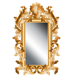 Mirror golden frame realistic 3d volume vector