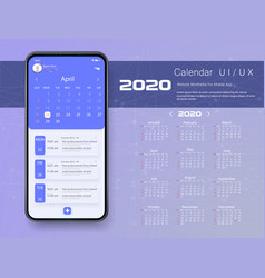 mobile app calendar 2020 week start sunday vector image