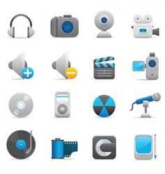 multimedia icons indigo vector image vector image