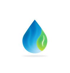 natural water drop with leaf logo symbol vector image