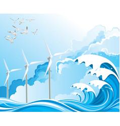 Offshore wind turbines vector