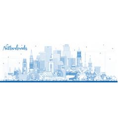 outline netherlands skyline with blue buildings vector image