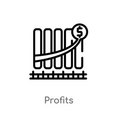 Outline profits icon isolated black simple line vector