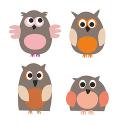 owls isolated on white background vector image