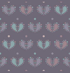 Paisley hearts design with dots seamless vector