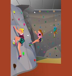 People climbing indoor wall vector