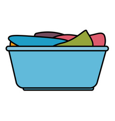 plastic basket with clothes vector image
